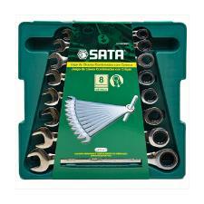 JOGO CHAVE COMBINADA COM CATRACA 8PCS 8A19MM ST08008SJ - SATA